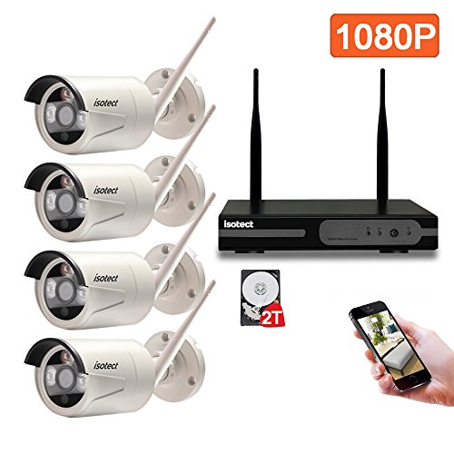 Wireless Video Camera Kit (isotect 8CH 1080p HD WiFi NVR 4pcs 2.0 MP 1080p CCTV Viedo Cameras Wireless Indoor Outdoor for Home Security Camera System Kits Remote Playback and Night Vison with 2TB Hard Drive Pre-installed)