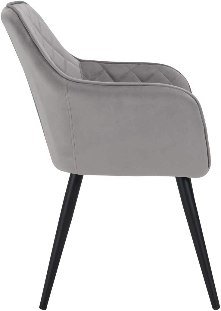 Duhome Modern Accent Chairs,Home Office Mid-Back Support Mid-Century Arm Chair Leisure Upholstered Chair with Metal Legs Living Room Reception Side Chairs with Armrest (Grey)