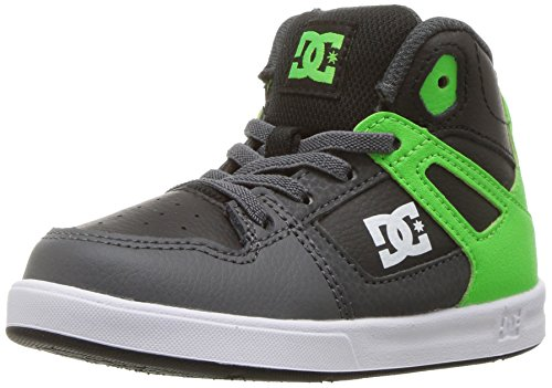 (DC Shoes DC Youth Rebound Skate Shoes, Green/Grey/White 6 M US Toddler)