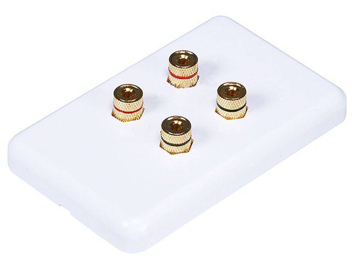 Monoprice 103640 High Quality Banana Binding Post Wall Plate for 2 Speaker