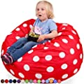 Oversized Bean Bag Chair in Flaming Red & White Polka Dots - Machine Washable Big Soft Comfort Cover & Memory Foam Filler - Cozy Lounger & Bed - Kids & Teens Love This Huge Sack -Panda Sleep Furniture