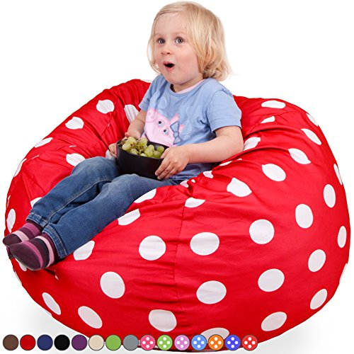 Oversized Bean Bag Chair in Flaming Red & White Polka Dots – Machine Washable Big Soft Comfort Cover & Memory Foam Filler – Cozy Lounger & Bed – Kids & Teens Love This Huge Sack -Panda Sleep Furniture