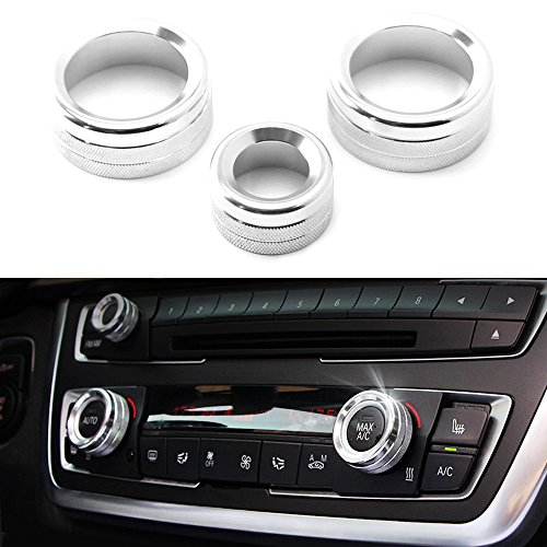 iJDMTOY 3pcs Silver Anodized Aluminum AC Climate Control and Radio Volume Knob Ring Covers For BMW 1 2 3 3GT 4 Series (F20 F22 F30 F31 F32 F33 F80 F82 F87) (Silver Bmw 3 Series)