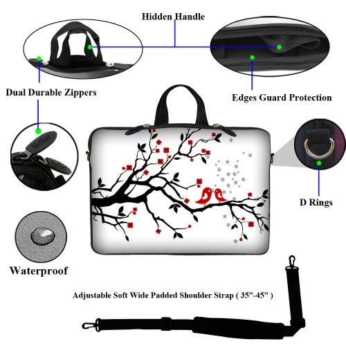 Neopren Laptoptasche mit verborgenem Griff und verstellbarem Schultergurt für Laptops von 15-15,6 Zoll Plum Blossom - Loving Bird