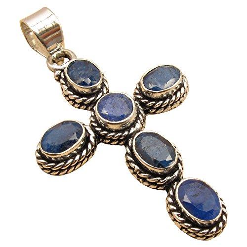925 Silver Plated CROSS Pendant ! 13 Color, Authentic Gemstones ! Antique Look Handmade (Antique Sapphire Cross)