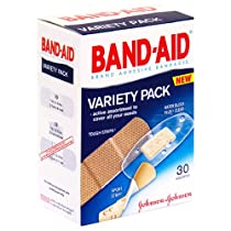 Band-Aid Adhesive Bandages, Assorted, Variety Pack 30 bandages