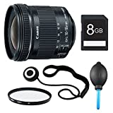 Canon EF-S 10-18mm F4.5-5.6 IS STM Lens, Filter, and 8GB Bundle - Includes Lens, 67mm UV Protective Filter, Lens Cap Keeper, 8GB SD Memory Card, and Dust Blower