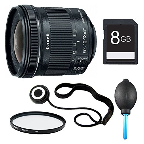Canon EF-S 10-18mm F4.5-5.6 IS STM Lens, Filter, and 8GB Bundle - Includes Lens, 67mm UV Protective Filter, Lens Cap Keeper, 8GB SD Memory Card, and Dust Blower by Canon