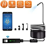 Wireless Endoscope, Magistech 1200P Semi-Rigid WiFi Borescope Upgrade USB Digital Inspection Camera 2.0 MP HD Snake Camera IP68 Waterproof for Android & iOS Smartphone, iPhone, Samsung, Tablet (33FT)