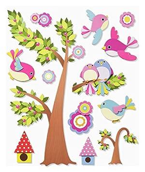 Stickerkoenig 3D Sticker XXL Wandtattoo Kinderzimmer Wandsticker -  Niedliche Vögel schwarm mit Baum
