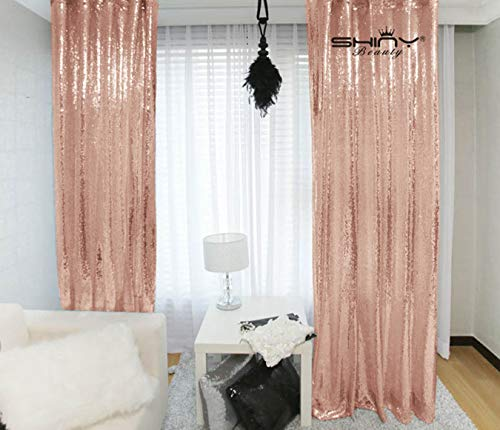 Sequin Curtains 2 Panels 2FTx8FT Blush Glitter Backdrop Blush Sequin Photo Backdrop Backdrop Curtains~M1120 (Curtains Gold And Pink)
