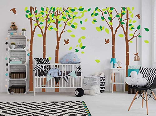 (LUCKKYY Large Five Family Trees with Birds and Birdcage Tree Wall Decal Tree Wall Sticker Kids Room Nursery Bedroom Living Room Decoration (103.9x70.9)(Brown))