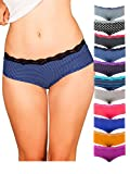 Emprella Womens Lace Underwear Hipster Panties Cotton/Spandex - 10 Pack Colors and Patterns May Vary , Assorted, Small