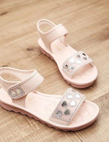 LFNLYX Zapatos de mujer-Tacón Cuña-Punta Abierta / Punta Redonda-Sandalias-Exterior / Casual-Semicuero-Azul / Rosa / Blanco White