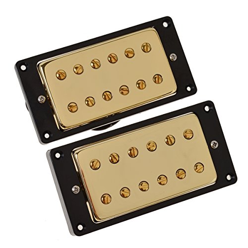Kmise Electric Guitar Sealed Double Coil Humbucker Pickups Black Frame For Les Paul Gold Black Humbucker Double Coil
