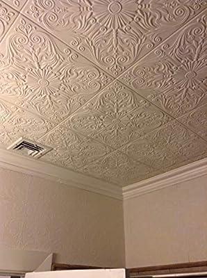 A La Maison Ceilings 1508 Spanish Silver Styrofoam Ceiling Tile Package Of 8 Tiles Plain White