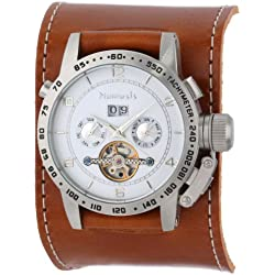 Nemesis Men's BGSB070S Mechanical Heavy Duty Brown AutoMech Leather Band Watch