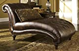 Ashley Furniture Signature Design - Claremore Chaise Lounge with 1 Accent Pillow - Grand Elegance - Antique Brown
