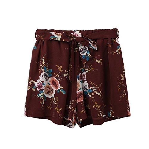 Clearanc!Women Print Casual Belt Loose Hot Pants Lady Summer Beach Shorts Trousers by-NEWONESUN ()