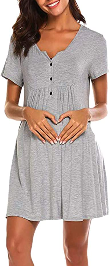 Ropa Embarazadas Vestido Premama Lactancia STRIR Vestido De Lactancia Femenino con Correa Multi Funcional