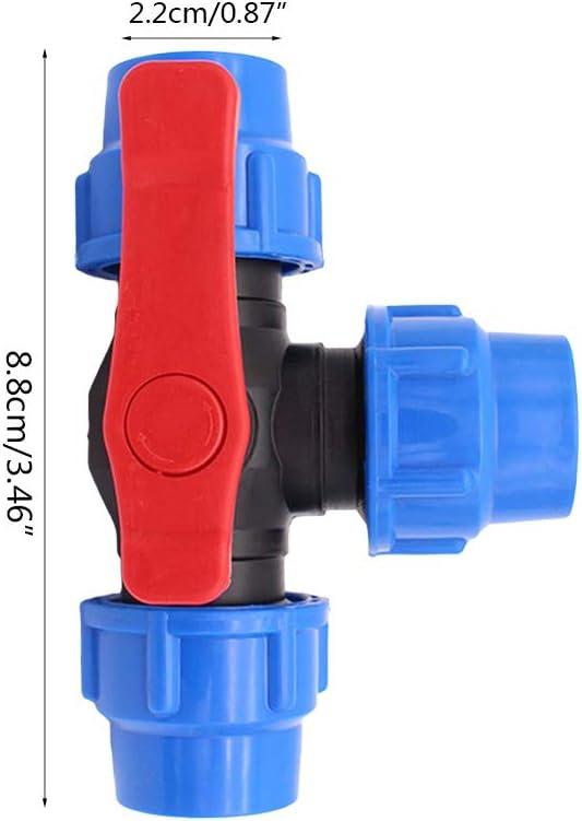 32mm v/álvula de Tres v/ías de pl/ástico de conexi/ón r/á BIlinli V/álvula de conexi/ón r/ápida de Tres v/ías PE v/álvula de pl/ástico V/álvula de Tipo T di/ámetro Interno 20//25