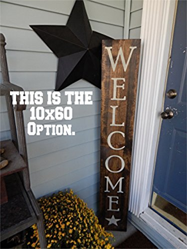 Large Welcome wood painted sign, Home porch sign, Wood welcome sign with star clipart, primitive outdoor (Hand Painted Welcome Signs)