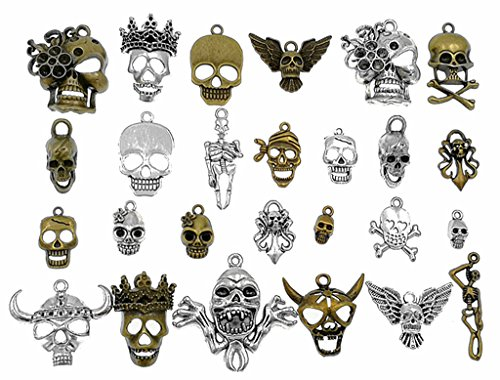 (Kinteshun Multistyle Skull Head Skeleton Steampunk Charm Pendant for DIY Jewelry Making Accessaries(26pcs,Antique Silver&Bronze Tones))