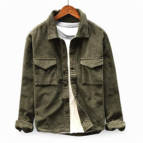Mens Corduroy Shirt Button Down Long Sleeve Ribbed Fashion Tops Slim Fit Casual Jackets with Pockets