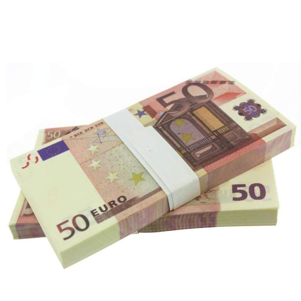 20 Euro 10pcs Emilyysky 5 10 20 50 100 200 500 500 Banconote in Oro in Banconote False in Oro 24 carati per Set di Banconote in Euro da Collezione