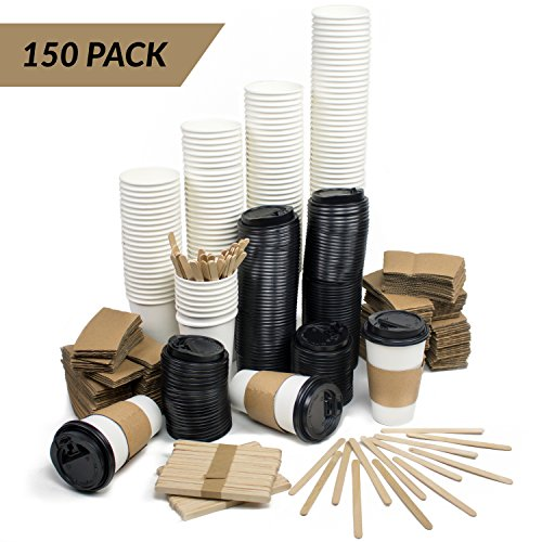 MEGA Set of 150 | Disposable Paper Coffee Hot Cups With Travel Lids, Sleeves & Wooden Stir Sticks | 12 oz or 16 oz Sizes | Premium Quality & Great Value …