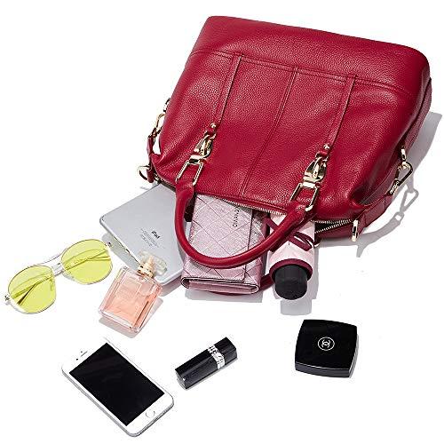 Genuine Shoulder handle Supple Satchels Handbags Women Handbags Leather Top Real Bags Hobo Cowhide Wine qnAwPwYt