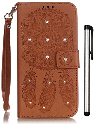 Galaxy S5 Case Brown Leather Wallet Full Body Magnet Book Cover Cell Phone Accessories with Crystal Stand 3 Credit Card Holder 1 Cash Slot Wrist Strap…