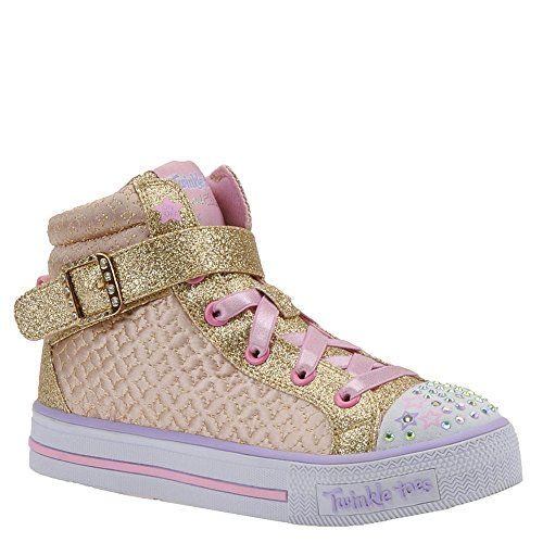 SKECHERS KIDS Girl's Twinkle Charm 10819L Lights (Little Kid/Big Kid) Gold/Pink (Light Pink Shoe Charms)