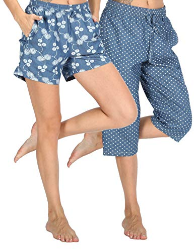 WEWINK CUKOO Soft Denim Cotton Women Pajama Capri Lounge Pants with Pockets (Flower Shorts + Dots Capris, XL=US 16-18)