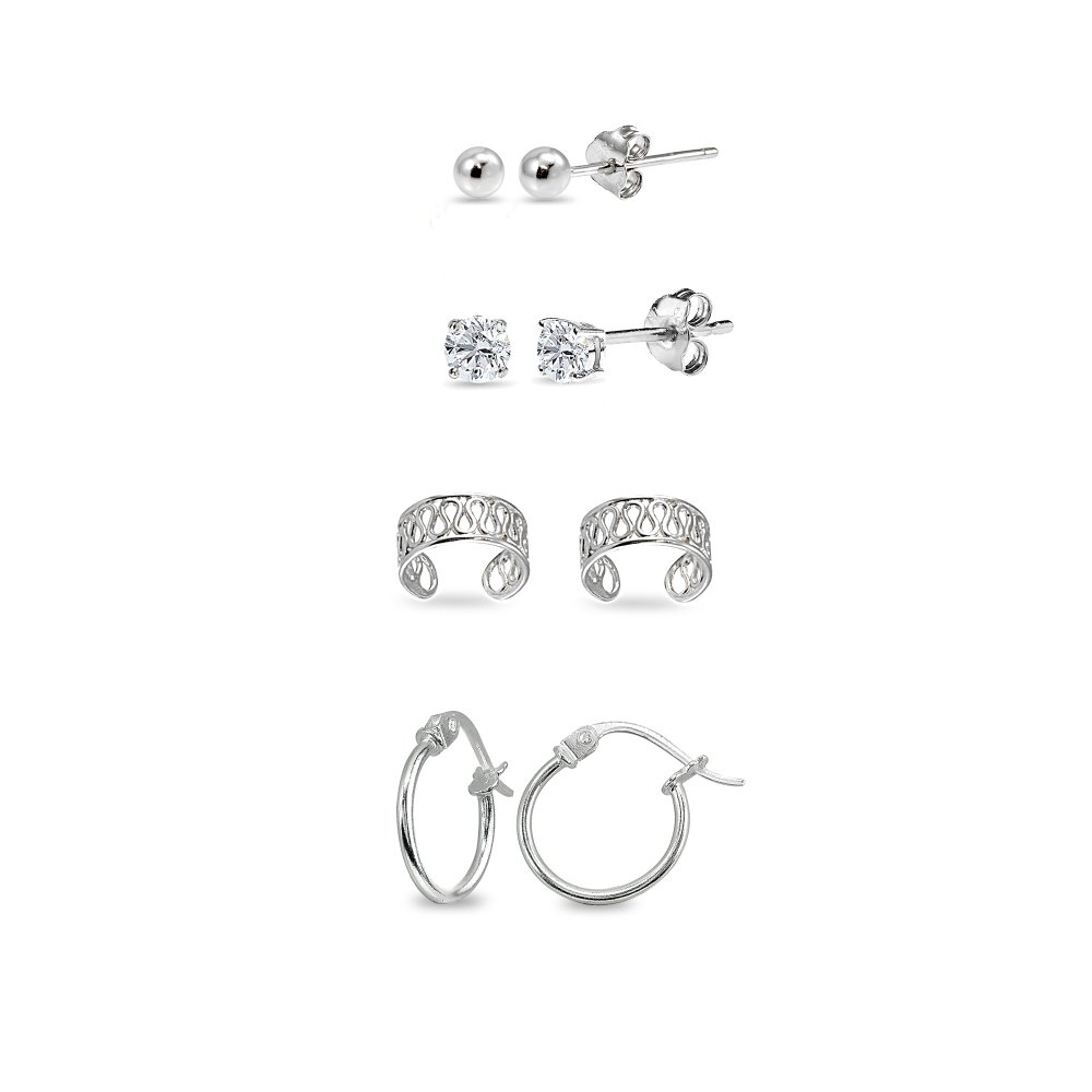 4 Pr Sterling Silver Unisex Ear Cuff Cartilage Clip, 12mm Tiny Small Hoops, 3mm Round Ball Stud & CZ Stud Earrings Set