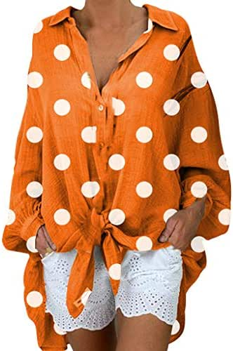 Sunmoot Clearance Sale Polka Dot Shirts for Women Plus Size Fashion Long Sleeve Casual Button Down Shirt Tunic Tops