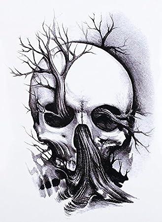 Calavera Tattoo Skull Tattoo Negro Fake Tattoo para pegar hb335 ...