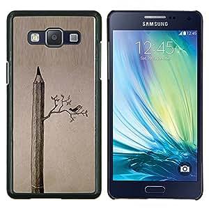 Dibujo Aves Significado Arte Profundo- Metal de aluminio y de plástico duro Caja del teléfono - Negro - Samsung Galaxy A5 / SM-A500