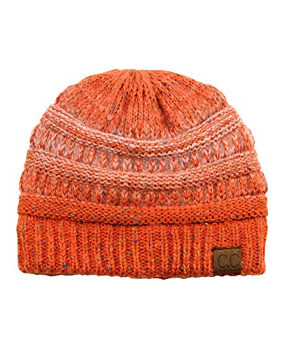 Orange Womens Beanie - C.C Trendy Warm Chunky Soft Stretch Cable Knit Beanie Skully, Ombre Orange
