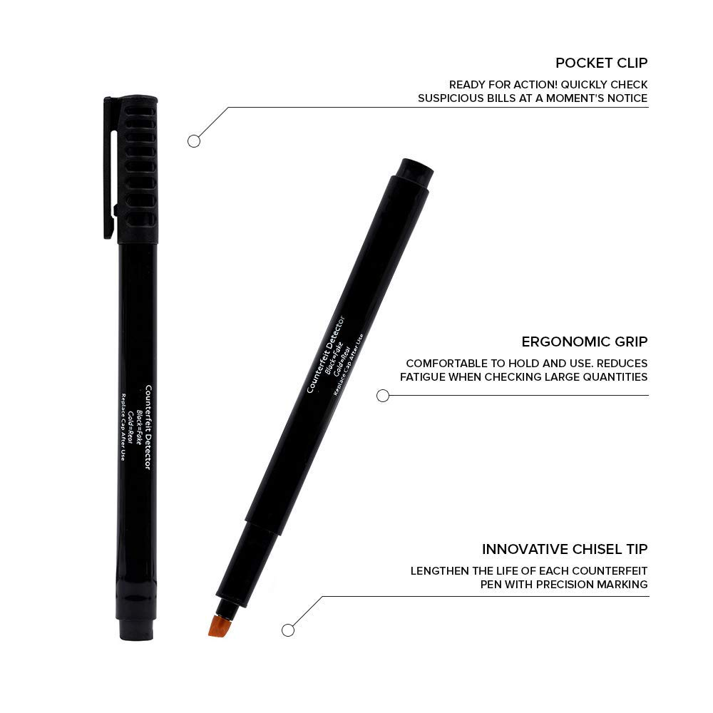 Amazon.com : Counterfeit Pens - Money Detector Markers - Detects Fake Counterfeit Bills (6 Pens) with Easy Carry Pocket Clip : Office Products