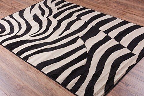Well Woven Miami Zebra Black Animal Print Area Rug 5' X 7'