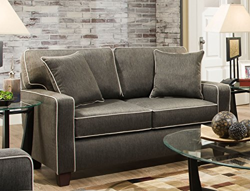 Chloe Charcoal Love Seat With Contrasting Welt and Two Toss Pillows