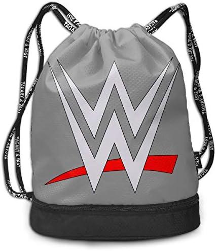メンズ レディース 兼用wwe Logo (5) ナップサック アウトドア ジムサック 防水仕様 バッグ 巾着袋 スポーツ 収納バッグ 軽量 バッグ 登山 自転車 通学・通勤・運動 ・旅行に最適 アウトドア 収納バッグ