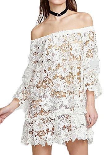 Off Lace Shoulder Beach Dress Jaycargogo Long Womens Sexy White Sleeve FYpwE6q