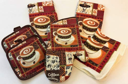 Colorful Coffee Latte Bistro 7 Piece Kitchen Linen Bundle With 2 Dish Towels, 2 Dish Cloths, 2 Potholders, and 1 Oven Mitt