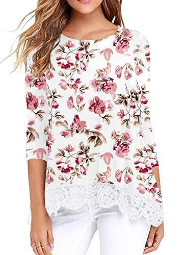 Ladies Tops Long Sleeve Tunic Lace Crochet Hem T-Shirts Fall Winter Floral White S (Lacy Leggings For Women)