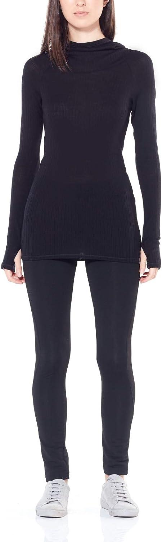 Icebreaker Merino Damen Women's Luxe Rib Pullover Hoody athletische T-Shirts Schwarz