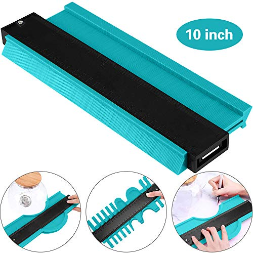 MEYUEWAL Contour Gauge Duplicator - 10 Inch Plastic Profile Copy Gauge Edge Shaping Measure Ruler Marking Tool Perfect Tiling Laminate Tiles General Tools (Green)