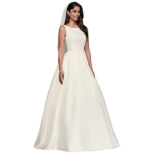 Davids Bridal High Neck Mikado Ball Gown Wedding Dress Style Wg3879