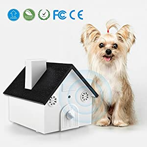 Homitem Ultrasonic Outdoor Bark Controller Sonic Bark Deterrent Anti-barking Devices, No Harm To Pets&Human,Easy Hanging/Mounting,3 Modes,Birdhouse Shaped,White(1-Pack)